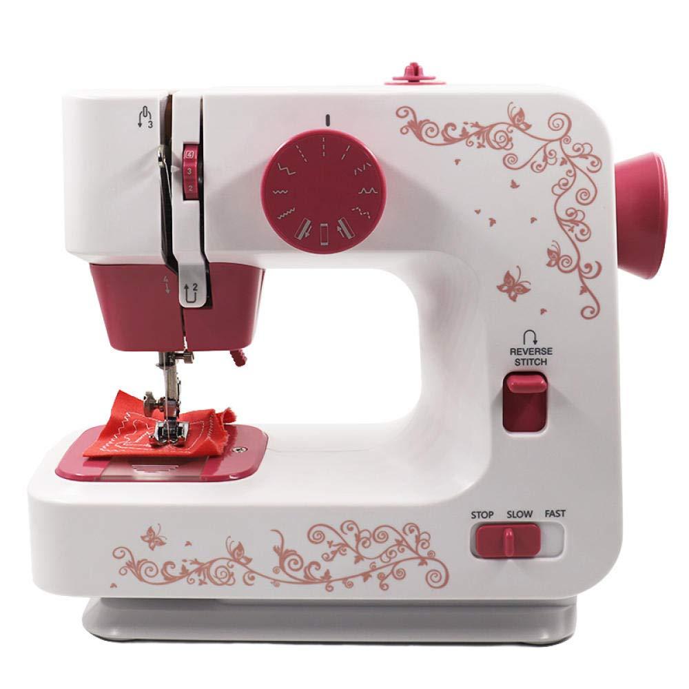 Máquina de coser doméstica automática de alta calidad Máquinas de coser overlock rosa con batería 12 puntos: Amazon.es: Hogar
