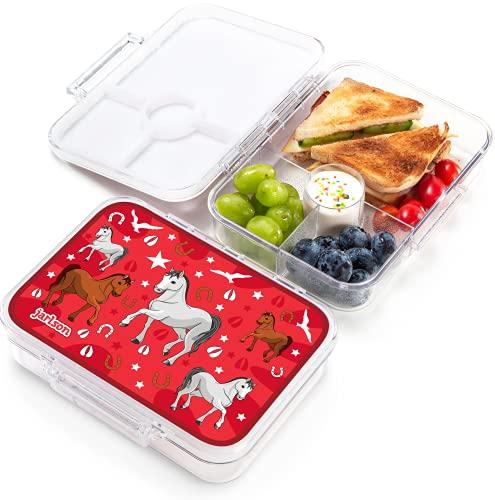 JARLSON® Brotdose für Kinder mit 4 Fächern - TÜV geprüft - Lunchbox aus Tritan - Bento Box auslaufsicher – Jausenbox für Kindergarten und Schule - Mädchen und Jungen - 850ml (Pferd)