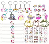 40 Pcs Regalitos Fiesta Cumpleaños Favores Infantiles - Unicornio llaveros & Pulsera & Anillo de Silicona, Tatuajes Temporales, Broche de joyería, Goma de Pelo de Unicornio para Niños Niña