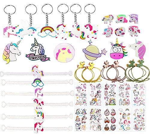 40 Pcs Regalitos Fiesta Cumpleaños Favores Infantiles - Unicornio llaveros & Pulsera & Anillo...