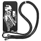 Pnakqil Funda con Cuerda para Xiaomi Redmi Note 7 / Note 7 Pro 6,3', Ajustable Collar Correa de Cuello Silicona Carcasa con Lindo Patrón, AntiChoque Case con Correa Colgante, Esqueleto