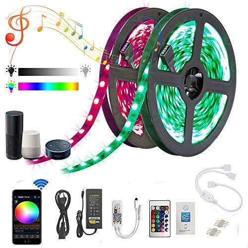 WIFI 10m RGB LED Streifen, LED Band 5050 SMD RGB 300 LED, APP gesteuert Smart Home, Deko Lichterkette, für Alexa Echo, Google Home Deko für Haus/Garten