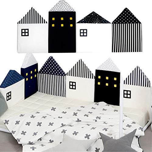 bettumrandung kinderbett,Baby Cot Bumper Wrap Around Schutz für Babys Bett mit Kopfschutz 100% hypoallergene 100% Baumwolle Atmungsaktive, 4pcs Set