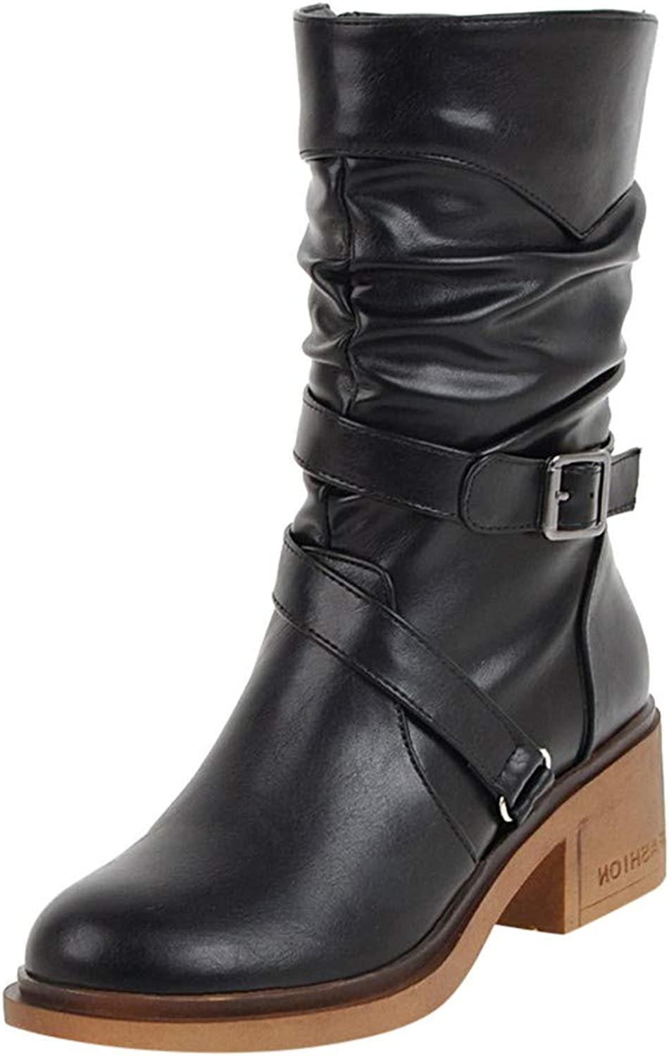 RedBrowm-women European Warm Metal Leather Retro Ankle Martin Boots Round Toe shoes