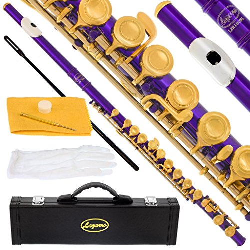 180-PR-N - PURPLE/LACQUER Keys Closed C Flute Lazarro+Pro Case,Care Kit - 22 COLORS Available ! CLICK on LISTING to SEE All Colors
