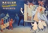ケラー困惑キャビネット魔法の魔術師、錫サインヴィンテージ面白い生き物鉄の絵金属板ノベルティ