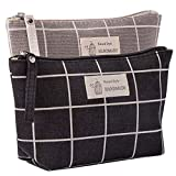 Kimoli 2 Pcs Canvas Cosmetic Bags, Printed Makeup Bag, Multi-Function Travel Toiletry Case, Coin Pouch Purse