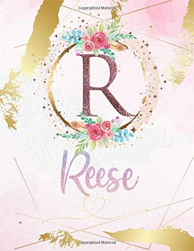 Reese: Personalized Sketchbook with Letter R Monogram & Initial/ First Names for Girls and Kids. Magical Art & Drawing Sketch Book/ Workbook Gifts for ... Gold Watercolor Cover. (Reese Sketchbook)