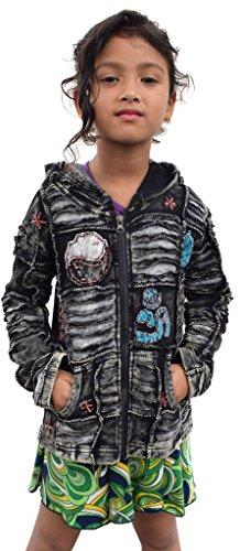Little Kathmandu Kinder Schwarz Baumwolle Patchwork Jacke Mädchen Hoodie 2 Jahre