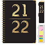 HARDCOVER Academic Year 2021-2022 Planner: (June 2021 Through July 2022) 8.5'x11' Daily Weekly Monthly Planner Yearly Agenda. Bookmark, Pocket Folder and Sticky Note Set (Black & Gold)