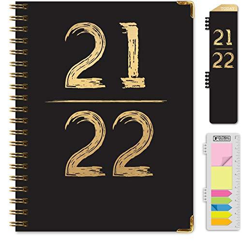 Agenda anual de año académico 2021 – 2022 Hardcover (de junio de 2021 a julio de 2022) de 8.5 x 11 pulgadas. Marcapáginas, carpeta de bolsillo y juego de notas adhesivas (negro y dorado)