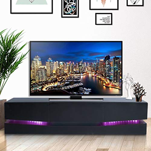 Modern TV Stand - Home TV Cabinet with Clolorful Lights and Storage Drawer, Entertainment Center for Living Room (Black)