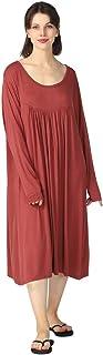 amropi Women's Nightdress Loungewear Soft Home T-Shirt Dress Scoop Neck Loose Nightshirt Nightwear