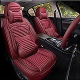 Autositzbezug Komplettes Set Kissen Autositzbezug Atmungsaktives Flachskissen Universal 5-Farben-Auswahl Audi A3 / A4 / A5 / A6 / A8 / Q3 / Q5 / Rs4,Luxury-red