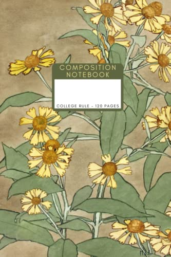 Daisies with Orange Center and Yellow Petals by Hannah Borger Overbeck Fine Art Print Journal: College Ruled Composition Notebook