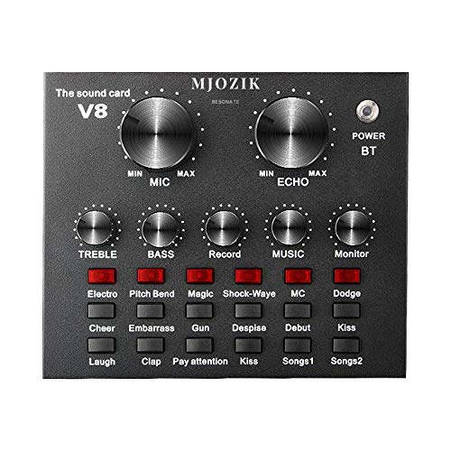 MJOZIK V8 Mini Audio Mixer with DSP Intelligent Sound Card, Noise Reduction and Multiple Sound Effects for Live Studio Recording, Streaming, Broadcast, Karoke Singing on Computer, Laptop, Mobile Phone