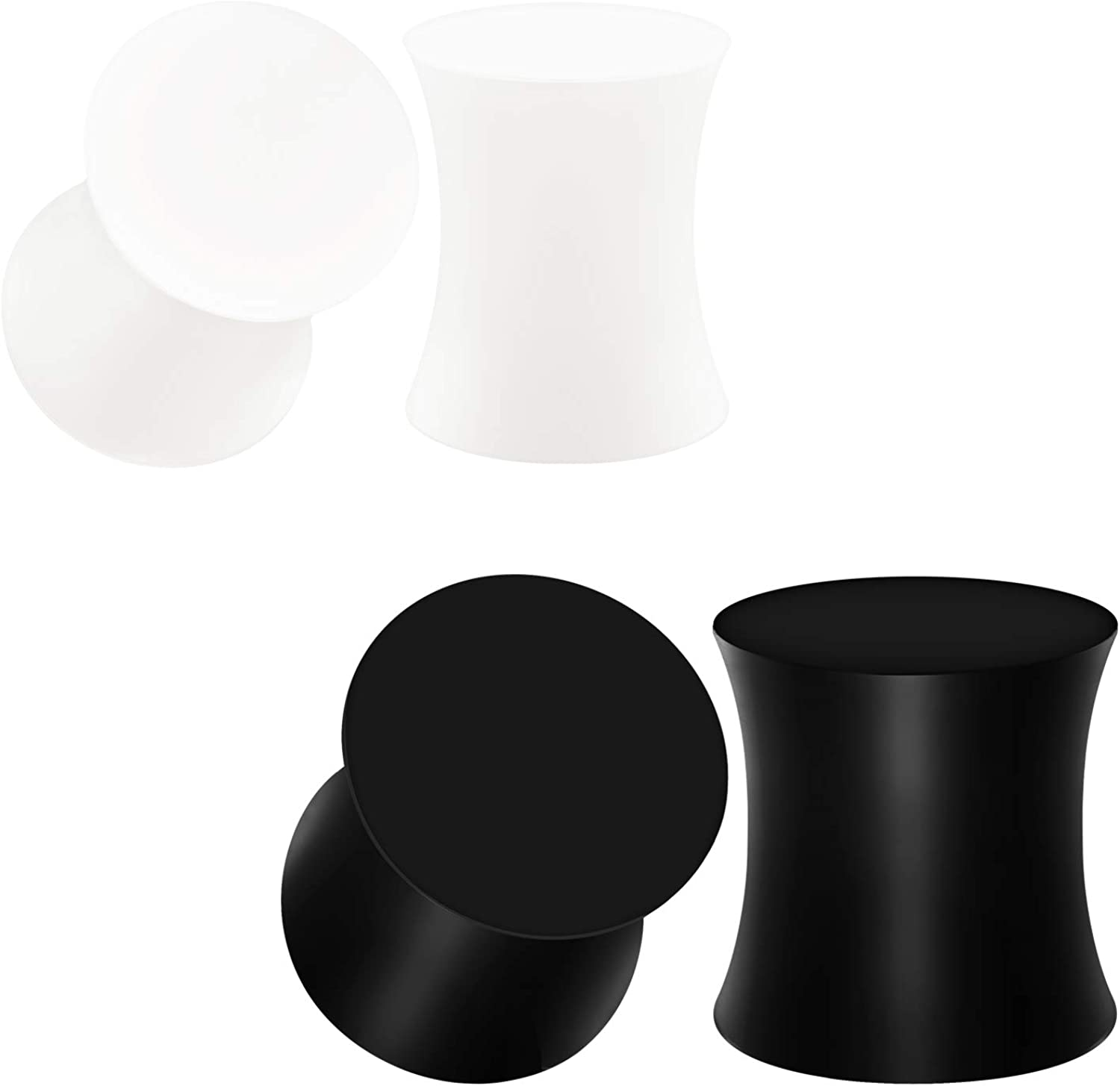 BIG GAUGES 2 Pairs Silicone Black White Solid Double Flared Piercing Jewelry Ear Stretcher Plugs Flesh Earring Lobe