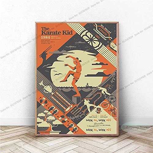 meishaonv The Karate Kid Movie Vintage Painting Canvas Wall Art Picture Sala de Estar Decoración para el hogar A215 50 × 70CM Sin Marco