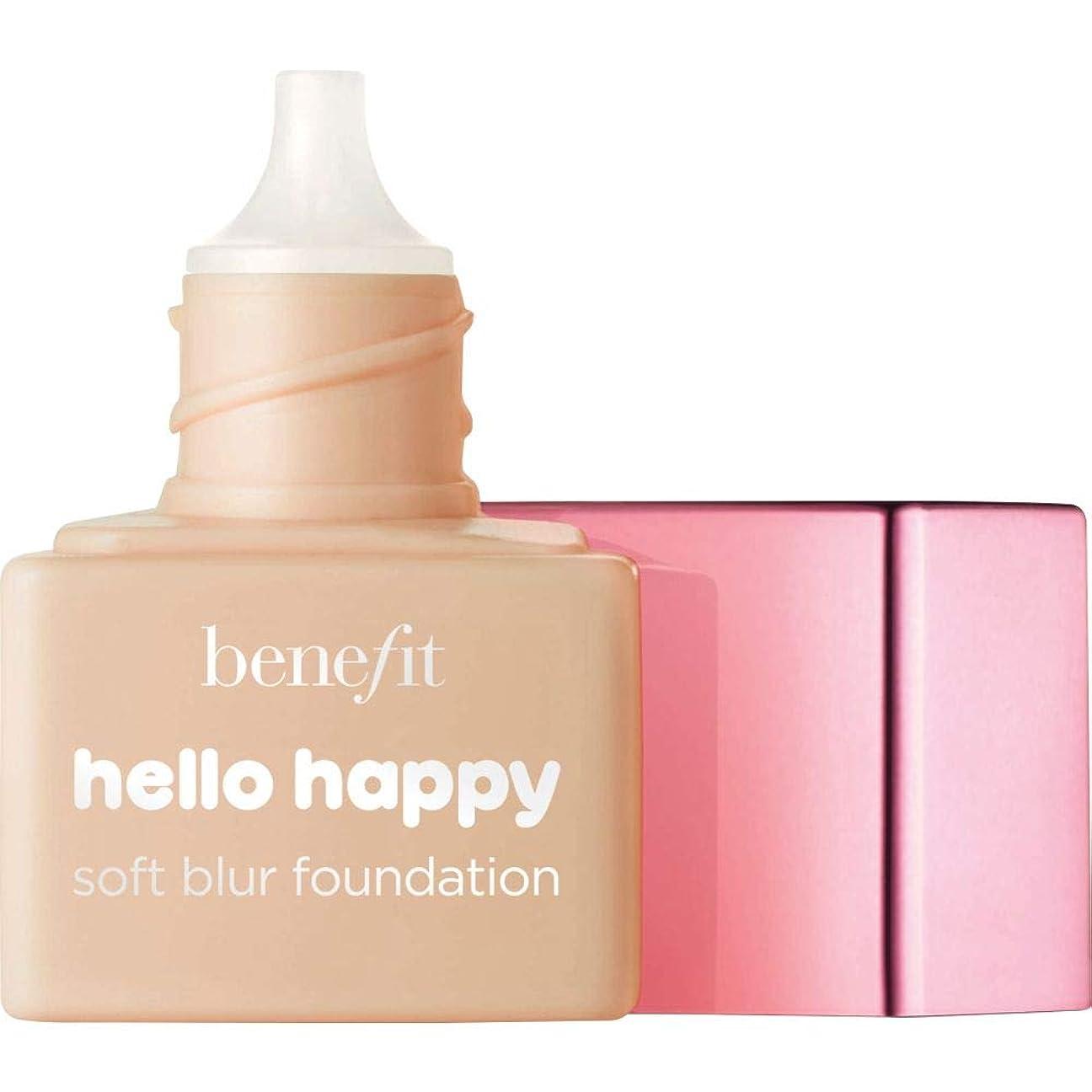 きしむリファイン辛な[Benefit ] ミニ4 - - こんにちは幸せソフトブラー基礎Spf15の6ミリリットルの利益中性媒体中 - Benefit Hello Happy Soft Blur Foundation SPF15 6ml - Mini 4 - Medium Neutral [並行輸入品]
