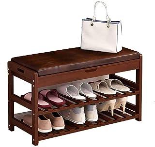 JJZXT Chaussures en Bois étagère à Chaussures Rack de Rangement Organisateur avec siège rembourré Couloir Bench Salon Chambre