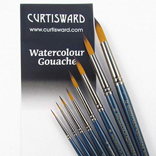 Juego de pinceles Curtisward Mastertouch Aquamarine, redondos, para acuarela, 8 unidades