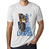 One in the City Hombre Camiseta Vintage T-Shirt Gráfico Liverpool Lifestyle Blanco Moteado