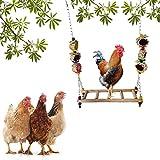 Vssictor Chicken Swing, supporto in legno di pollao, giocattolo per uomini, fatto a mano, per uccelli grandi, pappagalli, polli, Ara