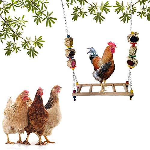 OUTEYE Escalera de Pollo Columpio Percha de Pollo de Madera Soporte de Percha de pájaro Accesorios para gallinero
