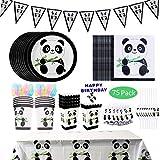 DreamJing 75pcs Vaisselle de Fête Jetable Thème Panda - Assiette, Carton Bannière Serviettes en Papier Nappe Paille Fourchettes Cuillère Couteaux pour Fête Anniversaire Baptême Mariage Enfant Adulte