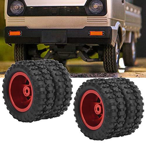 01 Neumáticos de Goma RC, Neumático Trasero RC Durable Práctico y ecológico Forro de Esponja para camión RC para una conducción Estable y Flexible(Red R)