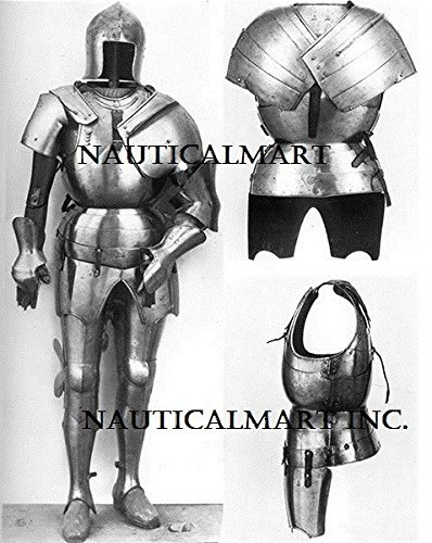 NauticalMart Traje de armadura de Barbute de Italia del Norte - Disfraz totalmente porttil