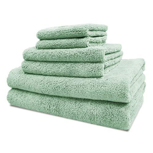 Polyte - Juego de Toallas de baño de Microfibra Felpa y antipelusa - Secado rápido - Pack de 6 (Verde Claro)