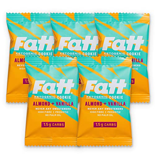 FattBar Almond & Butter Cookie (Pack of 5) 1.5 Grams Carbs, Keto, Low Carb, No Added Sugar, All Natural, No Polyols, Healthy Fats, Delicious