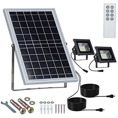 """Solar Flutlichter Außen Fernbedienung 10W 13,6 """"X9,3"""" Getrennte Sonnenkollektoren mit 15ft Kabeln und Zwei 64 LED 800LM120 ° Sicherheit Solarleuchten IP65 Wasserdicht für Garten, Garagenweg"""