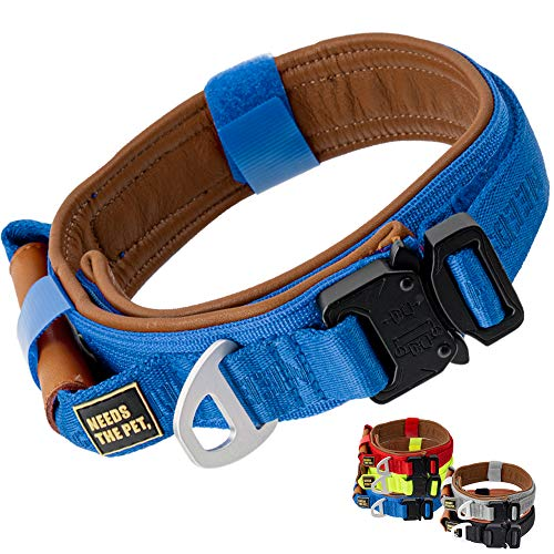 The Comfort Collar, Soft Cowhide Padded Dog Collar for All Breeds, Reflective Velcro Patch, Metal Buckle for Big Size Dogs Easy Control Handle (S,M,L) (M, Blue)