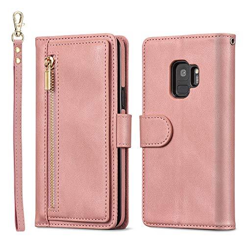 QLTYPRI Hülle für Samsung Galaxy S9 Plus, Premium Leder Handyhülle mit Große Kapazität Kartenfach Ständer Multifunktionale Schutzhülle Kompatibel mit Samsung Galaxy S9 Plus - Rosegold