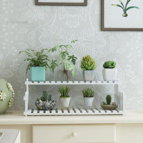 ZGP $Etagère d'exposition Support de fleur Support de fleur en bois massif Bureau Bureau Windowsill Mini Siège de fleur multicouche blanc (taille : 60 cm)