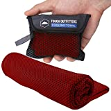Cooling Towels - Sweat Rag & Towel for Gym, Workout, Running, Golf & Yoga - Head & Neck Cooling Wraps for Hot Weather - Neck Cooler for Quick Cool Down - Skin Cancer Foundation Recommended - Red