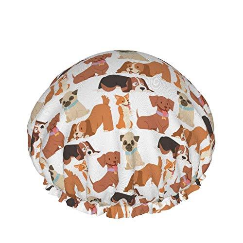 Puppy Cute Playing Dogs Gorro de ducha impermeable con dobladillo elástico - Diseño reversible para gorro de ducha para dormir