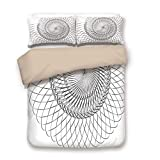 Soefipok Bettbezug-Set, Spires Decor, geometrische Helix-Spirale wie Unterwasser-Shell mit zyklischen Kunstdrucken, grauweiß, dekorativ 3 Stück Bettwäsche-Set von 2 Pillow Shams Twin Size