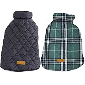 Kuoser Dog Coats Dog Jackets Waterproof Coats for Dogs Windproof Cold Weather Coats Small Medium Large Dog Clothes Reversible British Style Plaid Dog Sweaters Pets Apparel Winter Vest for Dog Green M