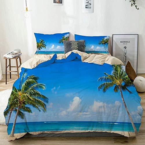 Juego de funda nórdica beige, isla exótica ventosa con árboles tropicales, tema tranquilo y playero, fotografía del océano, juego de cama decorativo de 3 piezas con 2 fundas de almohada, fácil cuidado
