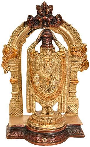 Exotic India Lord Venkateshvara as Balaji at Tirupati - Brass Statue - Color Red Gold Color