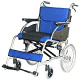 DONG Silla de Ruedas Adaptada discapacitados Plegado Doble Motor Asiento Ancho, Superior a una Variedad de aceras para Pacientes discapacitados (Azul)