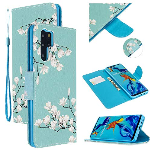 Best Review Of EnjoyCase Colorful Flip Case for Huawei P30 Pro,Gardenia Painted Pu Leather Bookstyle...