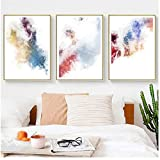 juou Leinwand Malerei Modern Abstract Home Wandkunst Minimalistische Poster und Drucke Wandbilder Wohnzimmer Wanddekoration 50 x 70 cm x3No Rahmen