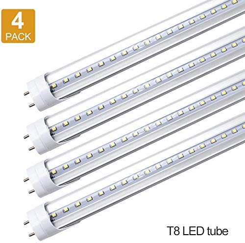LightingWill LED T8 Light Tube 2FT, Daylight White 5000K, Dual-End Powered Ballast Bypass, 1000Lumens 10W (24W Equivalent Fluorescent Replacement), Clear Cover, AC85-265V Lighting Tube Fixture, 4 Pack
