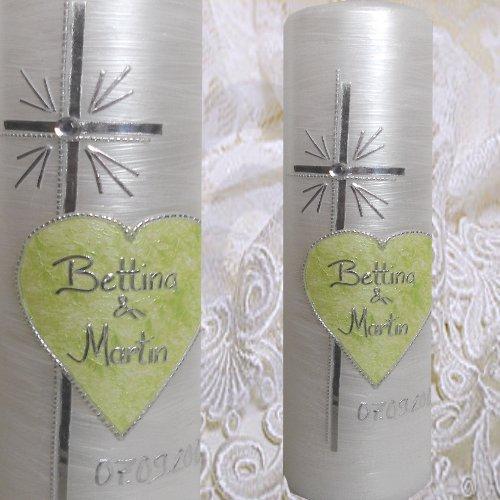 ilonas-lichtermeer Edel und Schlicht Hochzeitskerze Traukerze PERLMUTT KREUZ HERZ apfelgrün silber möglich MIT NAMEN DATUM 300x80 IH32 (apfelgrün/silber)