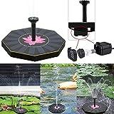 Delleu Bomba de Fuente Solar birdbath, Kit de Panel de Fuente de Agua Solar al Aire Libre para baño de Aves,pequeño Estanque, jardín y césped