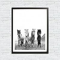 CHBOEN 装飾画 家の装飾のための馬の芸術のキャンバスの絵画アイスランドの野生の馬の壁の芸術の写真(フレームなし) 60x90cm